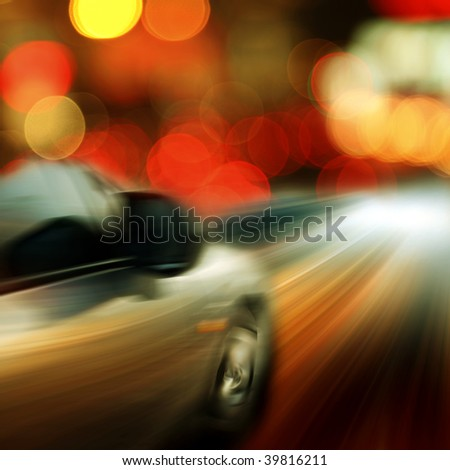 Traffic through downtown  the street of a city outdoor. - stock photo