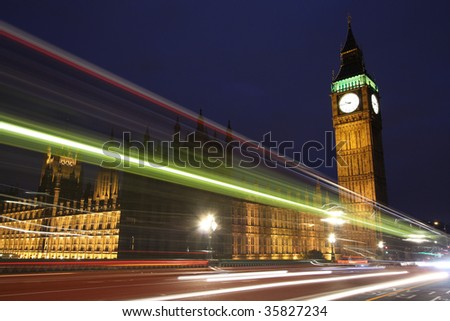Traffic through London - stock photo