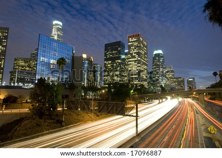 Traffic through Los Angeles - stock photo
