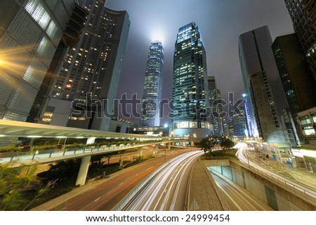 Traffic trough downtown in Central, HongKong - stock photo