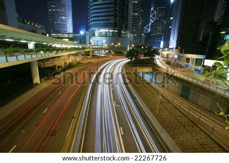 traffic trough downtown in Hongkong