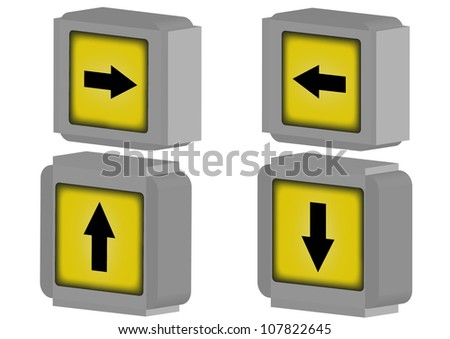 Traffic turning right and turning lift on a white background