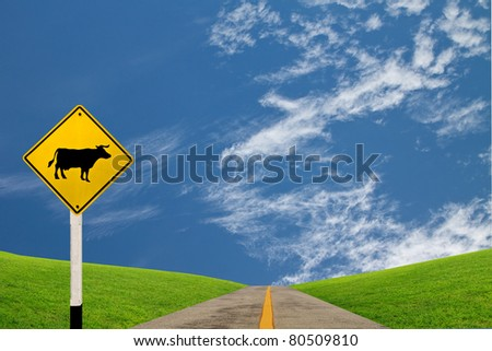 Traffic warning sign - Cow cross road
