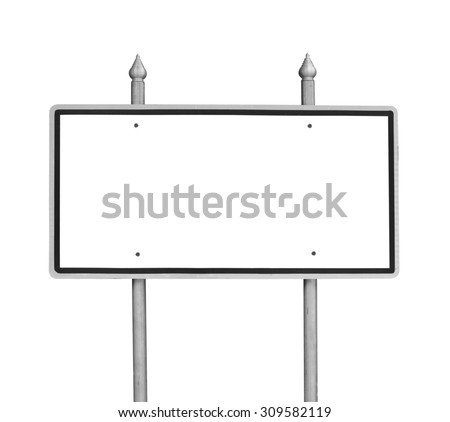 Traffic white sign blank for copy space - stock photo