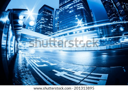 traffic with blur light through city at night