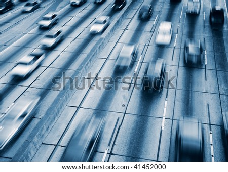 Traffic with Motion Blur - stock photo