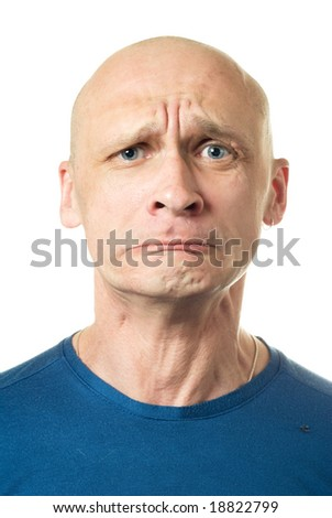Tragedy. Portrait from bald man facial expressions series. Isolated on white