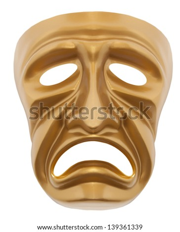 Tragedy theatrical mask isolated on a white background - stock photo