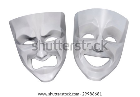 Tragicomic Theater Masks. Comedian and tragedy grotesque masks. 3D rendered image - stock photo