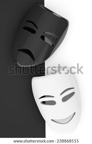 Tragicomic Theater Masks. Sad and Smile masks on a white and black background - stock photo