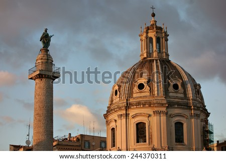 Traian column and Santa Maria di Loreto in Rome, Italy - stock photo