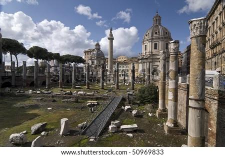 Traian's Forum and S. Maria di Loreto - stock photo
