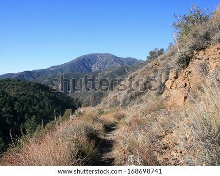 Trail along a hill side in the mountains, Orange County, California - stock photo
