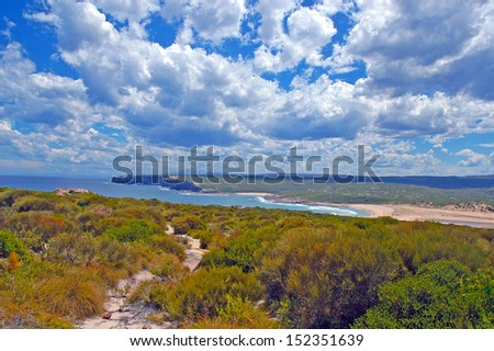 Trail along the Rugged Coast of Australia - stock photo