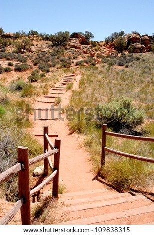 Trail at Arches National Park in Utah, USA - stock photo