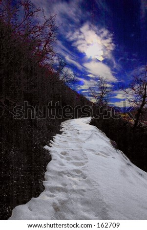Trail at night - stock photo