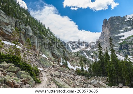 Trail from Lake Helene to Odessa - Colorado Rockies - stock photo