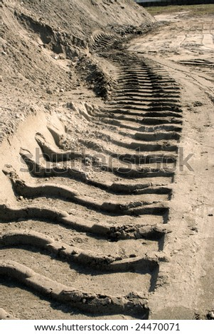 Trail in dust - stock photo