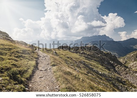Trail in the french alps. Vintage style photo