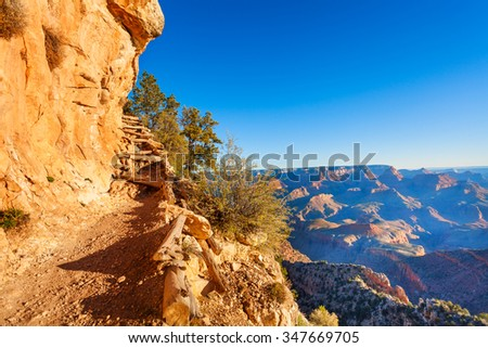 Trail in the Grand Canyon near Moran Point - stock photo