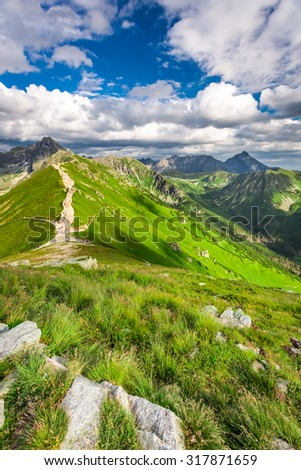 Trail in the Tatras Mountains - stock photo