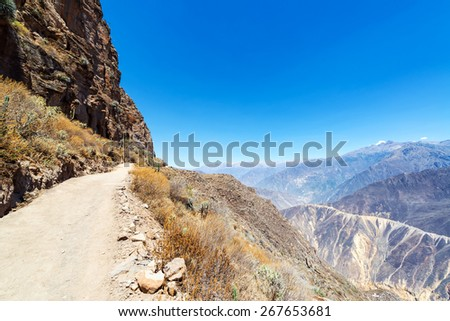 Trail leading into and out of Colca Canyon in Peru - stock photo