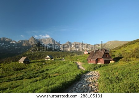 Trail leading through a valley in the Polish Tatra Mountains. - stock photo