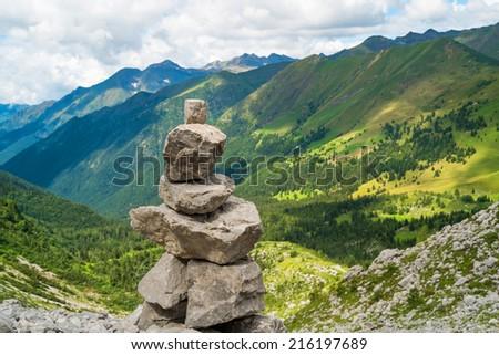 Trail marker in Val di Scalve, Schilpario, Italy - stock photo