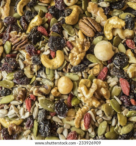 trail mix made up of nuts and seeds - stock photo