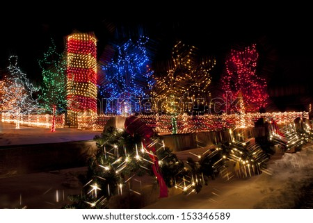 Trail of Lights at Denver Botanical Gardens at Chatfield. - stock photo
