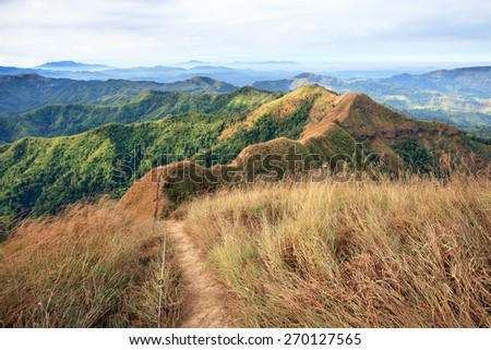 Trail on Khao Chang Puak mountain, western of thailand - stock photo