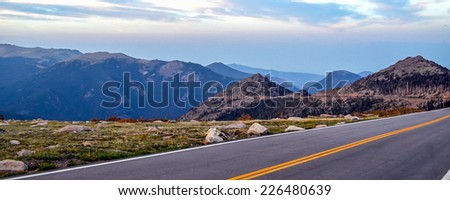 Trail Ridge Road in Rocky mountains national park, Colorado. Highest elevation paved road in any national park in the US.  - stock photo