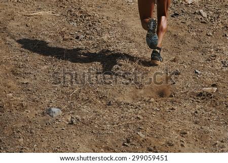 Trail running man - stock photo
