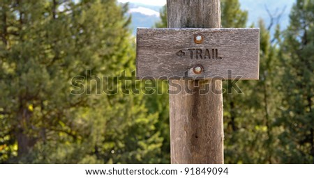 Trail sign in the forest - stock photo