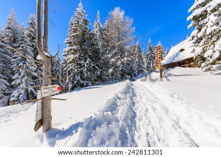 Trail sign on path in snow to Turbacz in winter landscape of Gorce Mountains, Poland - stock photo