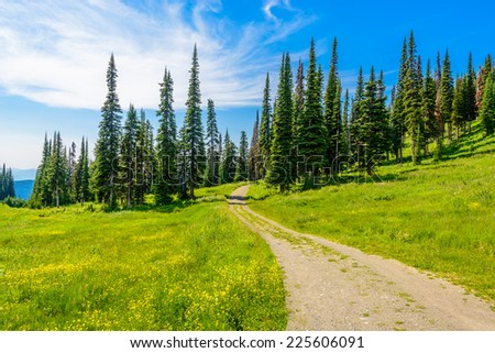 Trail to a mountain summit in British Columbia, Canada. - stock photo
