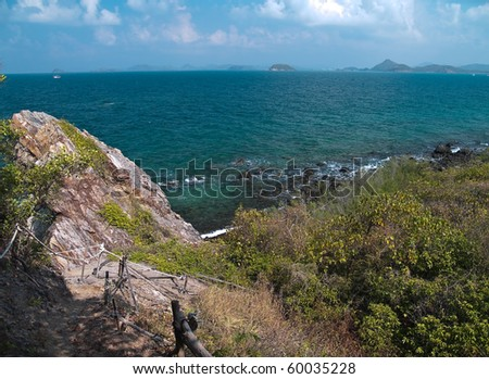 Trail to cape of Ko Kham island, Sattahip, Chon Buri, Thailand