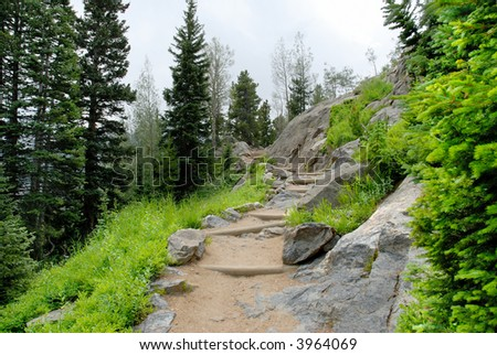 Trail to Dream Lake in the Rocky Mountain National Park, Colorado.