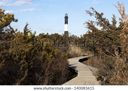 Trail to Fire Island Lighthouse. Long Island, New York - stock photo