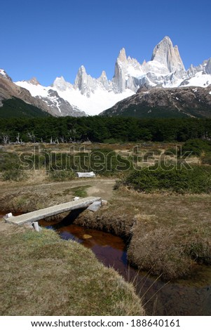 trail to Torres del Paine - stock photo