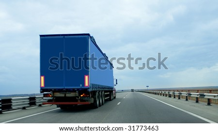 Trailer on road - stock photo