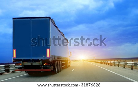 Trailer on road. The Rear view - stock photo