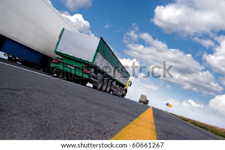 trailer on the highway. business trip - stock photo