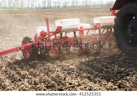 trailer tractor agricultural drills - stock photo