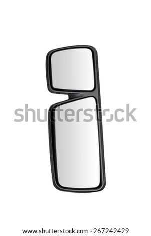 Trailer (truck) rear-view mirror with place for text isolated on white background - stock photo