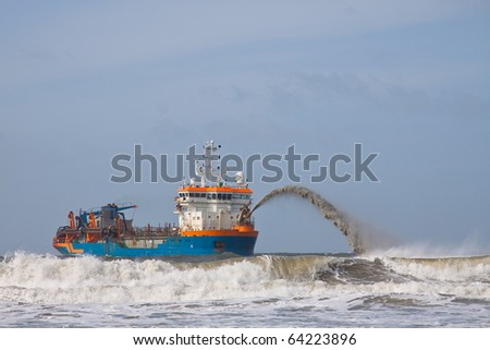 Trailing suction Hopper Dredger - stock photo