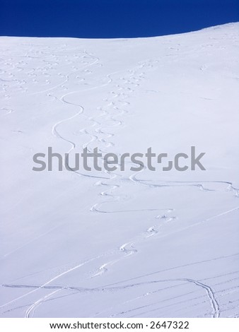 Trails in snow - stock photo