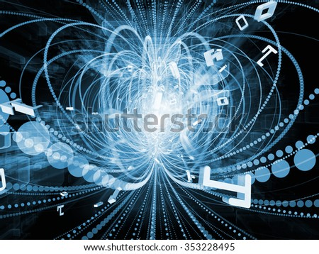 Trails of Technology series. Abstract composition of particle trails, light and science related elements in three dimensional space suitable as element in projects related to modern technology - stock photo