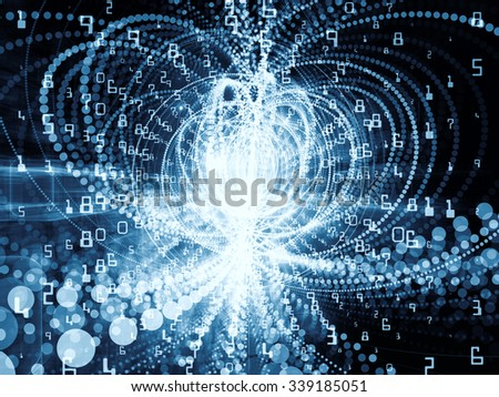 Trails of Technology series. Backdrop of  particle trails, light and science related elements in three dimensional space to complement your design on the subject of modern technology - stock photo