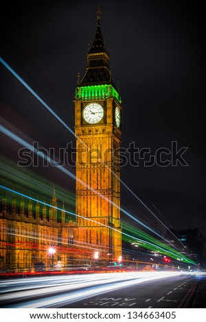 Trails over the Big Ben - stock photo